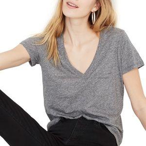 Madewell gray V neck pocket tee size XS